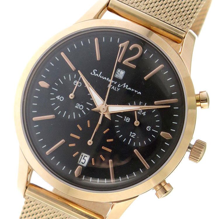 サルバトーレマーラ SALVATORE MARRA メンズ 腕時計 SM17110M-PGBK ブラック