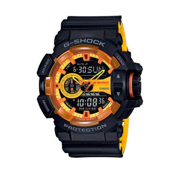 カシオ CASIO Gショック G-SHOCK ロータリースイッチ スポーティミックスビ アナデジ クオーツ メンズ クロノ 腕時計 GA-400BY-1A ブラック/オレンジ