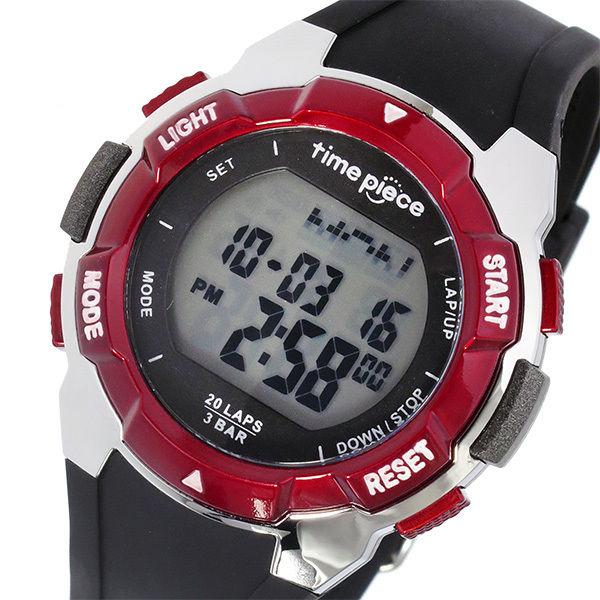 タイムピース TIME PIECE ランニングウォッチ デジタル メンズ 腕時計 TPW-004RD ブラック/レッド