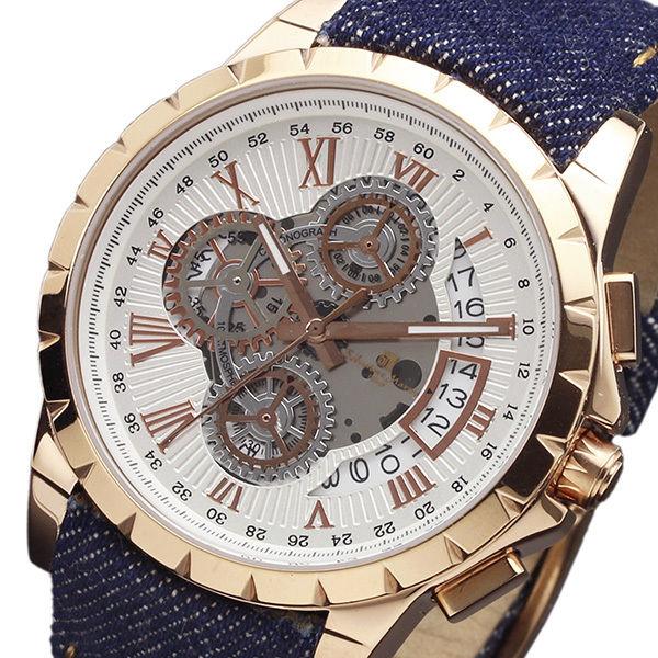 サルバトーレマーラ クロノ クオーツ メンズ 腕時計 SM13119D-PGWHBL ホワイト