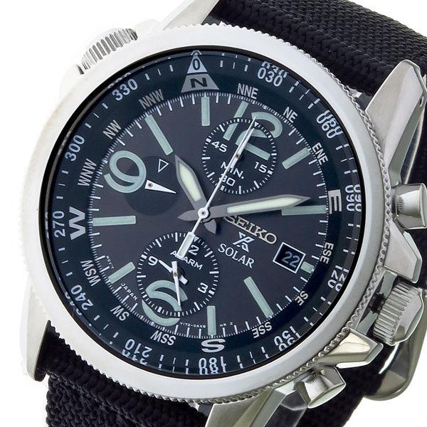 セイコー SEIKO クロノ ソーラー メンズ 腕時計 SSC135P1 ブラック