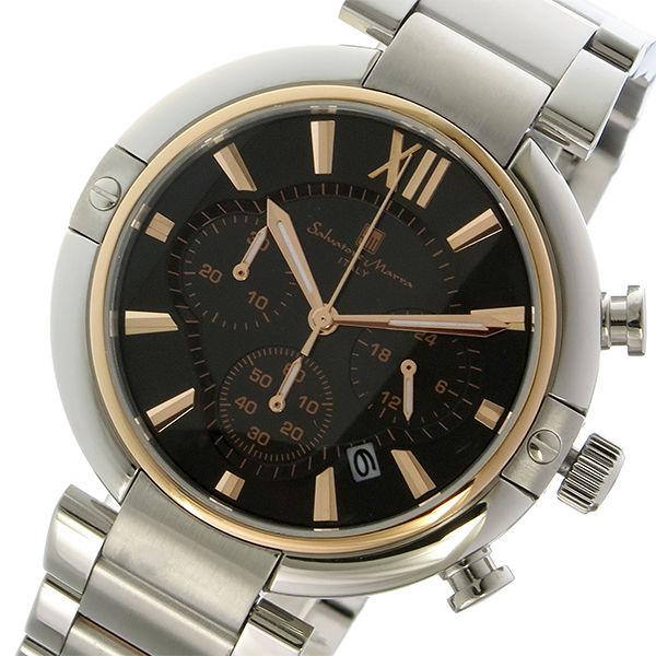 サルバトーレマーラ クロノ クオーツ メンズ 腕時計 SM17106-PGBK ブラック/ピンクゴールド