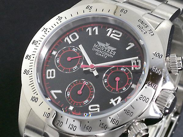 モントレス MONTRES クロノグラフ メンズ 腕時計 MC68199A-BK ブラック