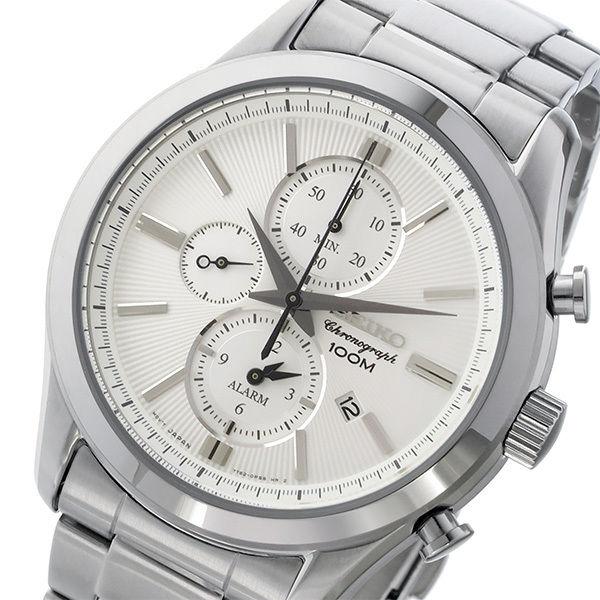 セイコー SEIKO クロノ クオーツ メンズ 腕時計 SNAF63P1 ホワイトシルバー