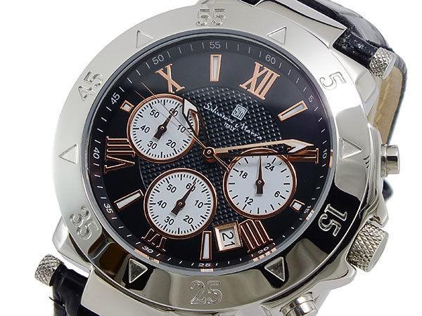サルバトーレマーラ クオーツ メンズ クロノ 腕時計 レザーベルト SM8005S-SSBKPGWH