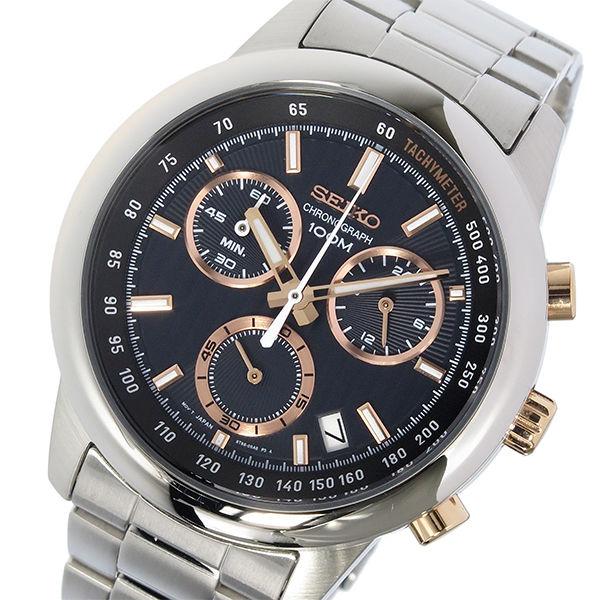 セイコー SEIKO クロノ クオーツ メンズ 腕時計 SSB215P1 ブラック