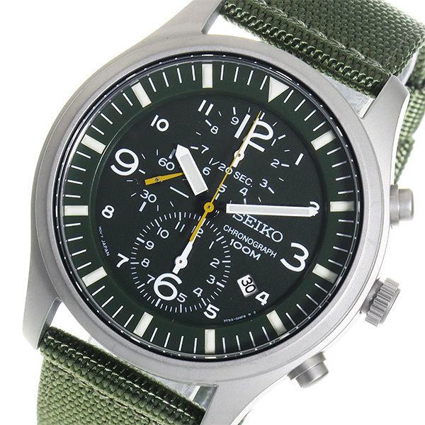 セイコー SEIKO クロノ クオーツ メンズ 腕時計 SNDA27P1 グリーン