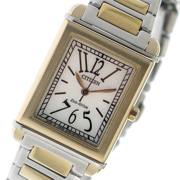 シチズン CITIZEN エコドライブ クオーツ レディース 腕時計 EW5348-50A アイボリー