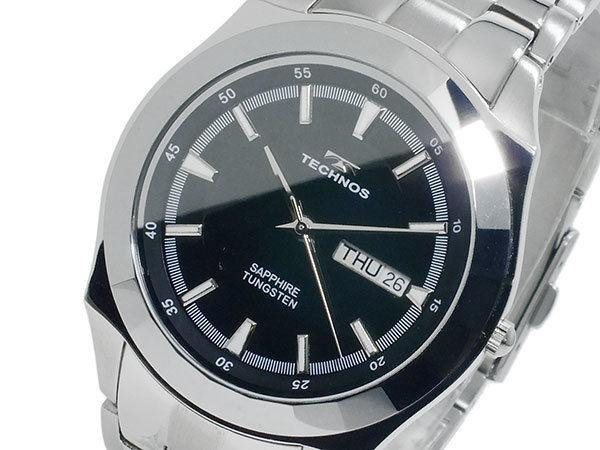 テクノス TECHNOS 超硬タングステン クオーツ メンズ 腕時計 T9197CB ブラック