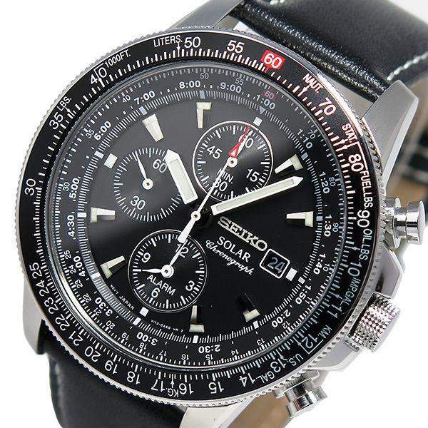 セイコー SEIKO ソーラー クロノ アラーム メンズ 腕時計 SSC009P3 ブラック