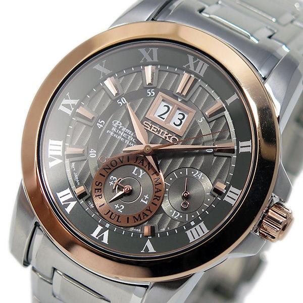 セイコー プルミエ パーペチュアル クオーツ メンズ 腕時計 SNP114P1 グレー