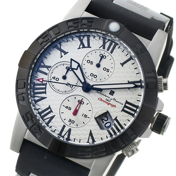 サルバトーレ マーラ SALVATORE MARRA クロノ クオーツ メンズ 腕時計 SM17111-SSWH ホワイト