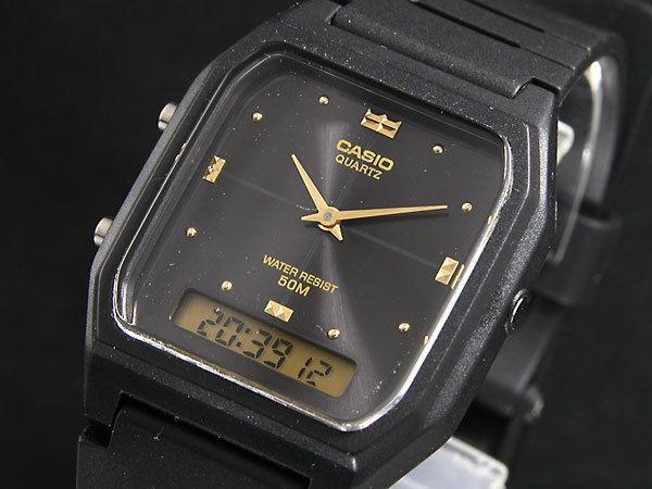 カシオ CASIO アナデジ クオーツ ユニセックス 腕時計 AW48HE-1A ブラック/ブラック