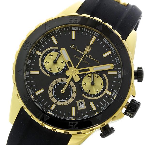 サルバトーレマーラ クロノ クオーツ メンズ 腕時計 SM17112-GDBK ブラック/ゴールド