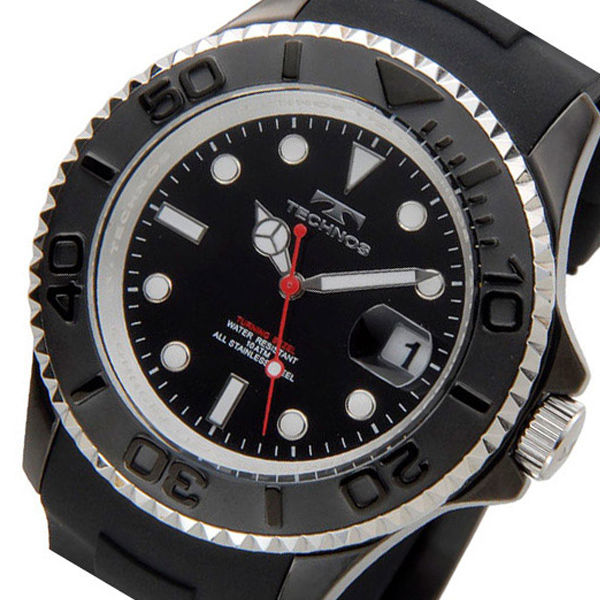 テクノス TECHNOS ダイバー クオーツ メンズ 腕時計 T4418BB ブラック