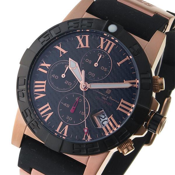 サルバトーレ マーラ SALVATORE MARRA クロノ クオーツ メンズ 腕時計 SM17111-PGBK ブラック