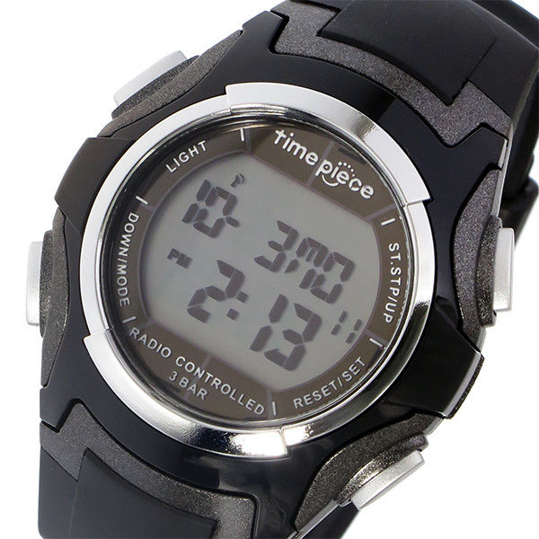 タイムピース TIME PIECE 電波ソーラー デジタル メンズ 腕時計 TPW-001BK ブラック
