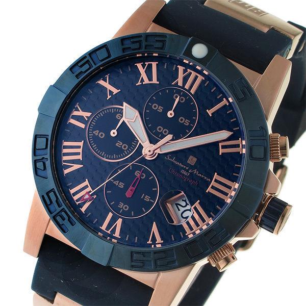サルバトーレ マーラ SALVATORE MARRA クロノ クオーツ メンズ 腕時計 SM17111-PGBL ダークブルー