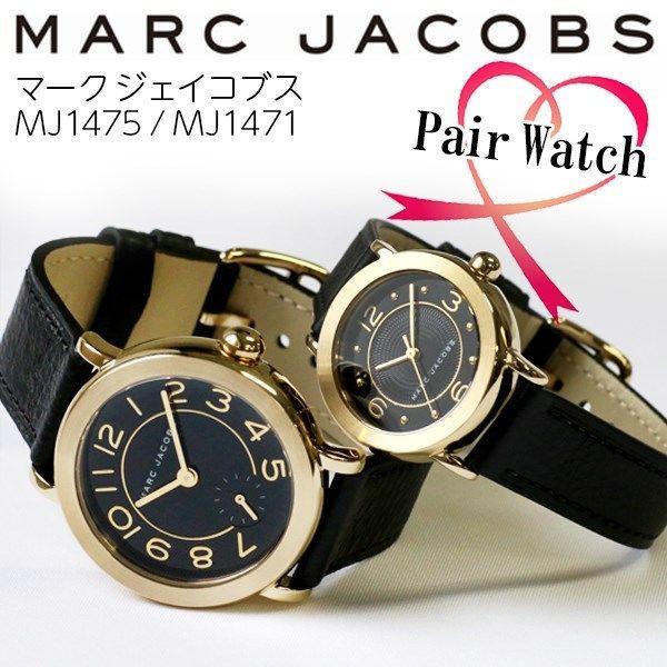 【ペアウォッチ】 マーク ジェイコブス MARC JACOBS ライリー ブラック/ゴールド 腕時計 MJ1475 MJ1471