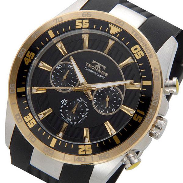テクノス TECHNOS ダイバー クオーツ メンズ クロノ 腕時計 T6398SC ブラック