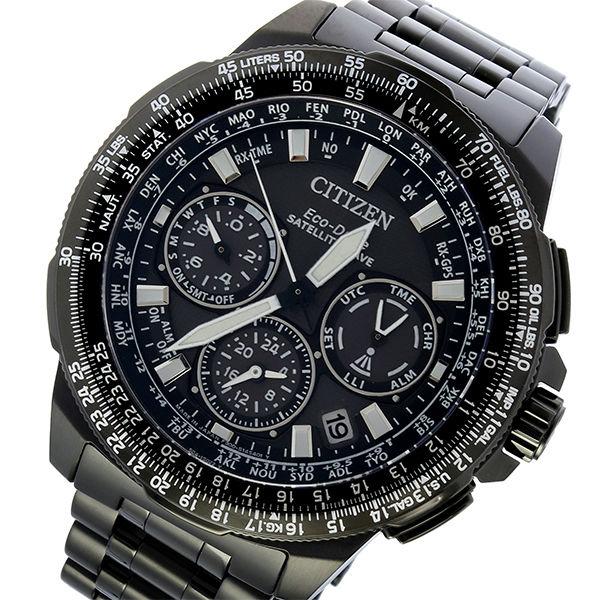 シチズン エコドライブ サテライト ウェーブ 電波 クロノ ソーラー メンズ 腕時計 CC9025-51E ブラック