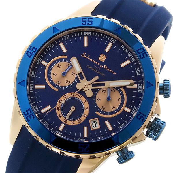 サルバトーレマーラ クロノ クオーツ メンズ 腕時計 SM17112-PGBL ブルー/ピンクゴールド