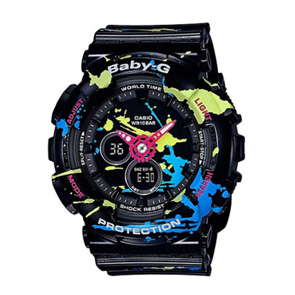 カシオ CASIO ベビーG Baby-G スクラッターパターン アナデジ クオーツ レディース クロノ 腕時計 BA-120SPL-1A ブラック