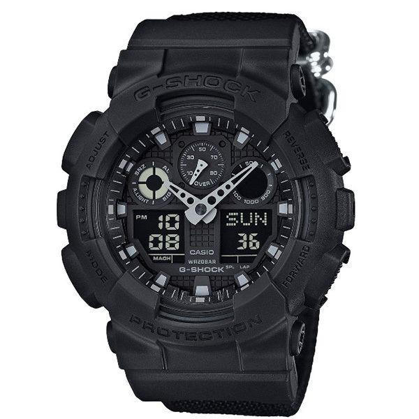 カシオ CASIO Gショック G-SHOCK ミリタリーブラック アナデジ クオーツ メンズ クロノ 腕時計 GA-100BBN-1A ブラック