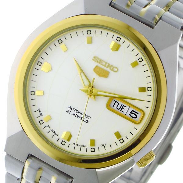 セイコー SEIKO セイコー5 SEIKO5 自動巻き メンズ 腕時計 SNKL72J1 ホワイト/ゴールド