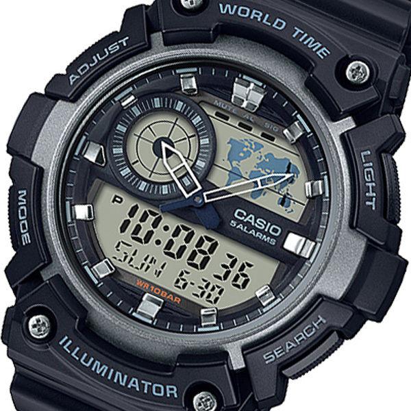 カシオ CASIO アナデジ クオーツ メンズ 腕時計 AEQ-200W-1AJF ブラック 国内正規