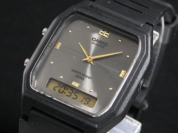 カシオ CASIO アナデジ クオーツ メンズ  腕時計 AW48HE-8A グレー/ブラック
