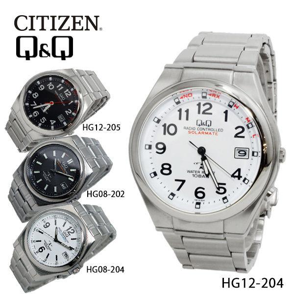 シチズン キューアンドキュー ソーラー 電波 メンズ 腕時計 HG12-204 ホワイト