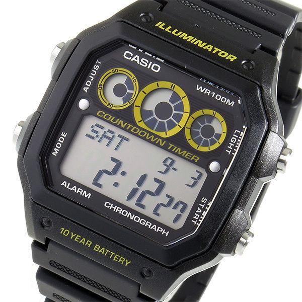 カシオ CASIO クオーツ メンズ 腕時計 AE-1300WH-1A ブラック/イエロー
