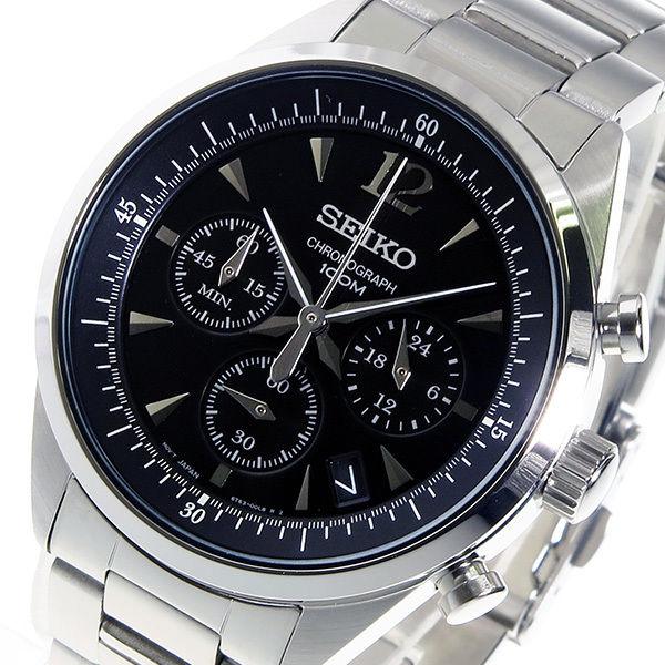 セイコー SEIKO クロノ クオーツ メンズ 腕時計 SSB067P1 ブラック