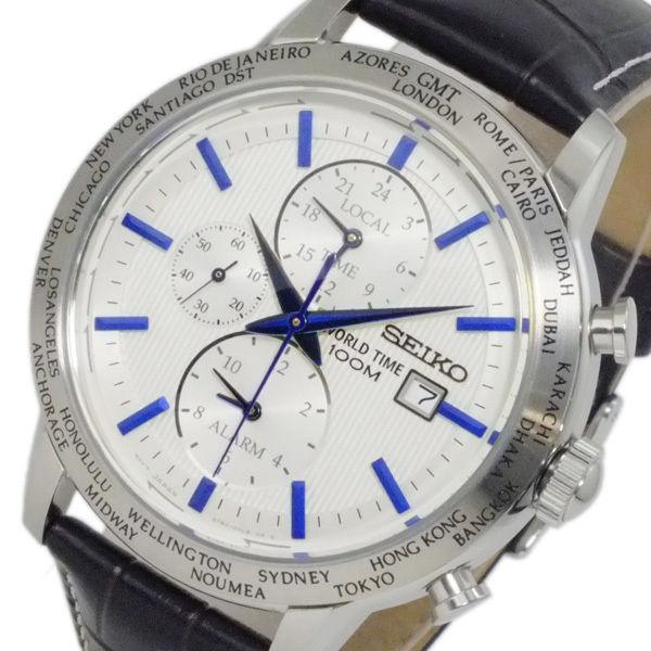セイコー SEIKO ワールドタイム アラーム GMT メンズ 腕時計 SPL051P1 ホワイト