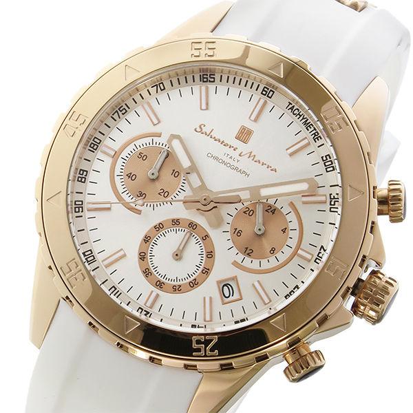 サルバトーレマーラ クロノ クオーツ メンズ 腕時計 SM17112-PGWH シルバー/ピンクゴールド