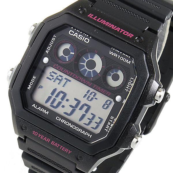 カシオ CASIO クオーツ メンズ 腕時計 AE-1300WH-1A2 ブラック/ピンク