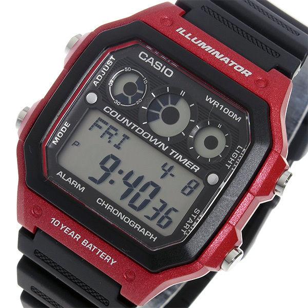 カシオ CASIO クオーツ メンズ 腕時計 AE-1300WH-4A ブラック/レッド