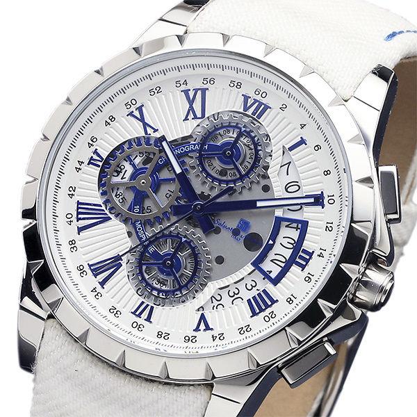 サルバトーレマーラ クロノ クオーツ メンズ 腕時計 SM13119D-SSWHBLWH ホワイト