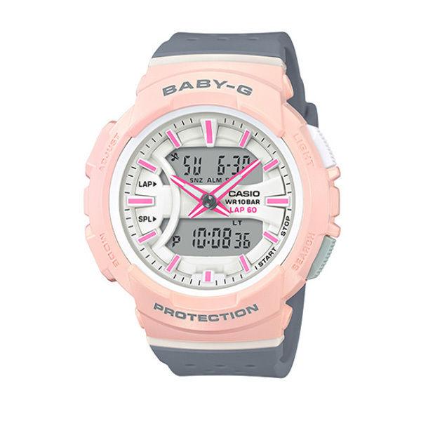 カシオ CASIO ベビーG Baby-G for running アナデジ クオーツ レディース クロノ 腕時計 BGA-240-4A2 ホワイト/ピンク
