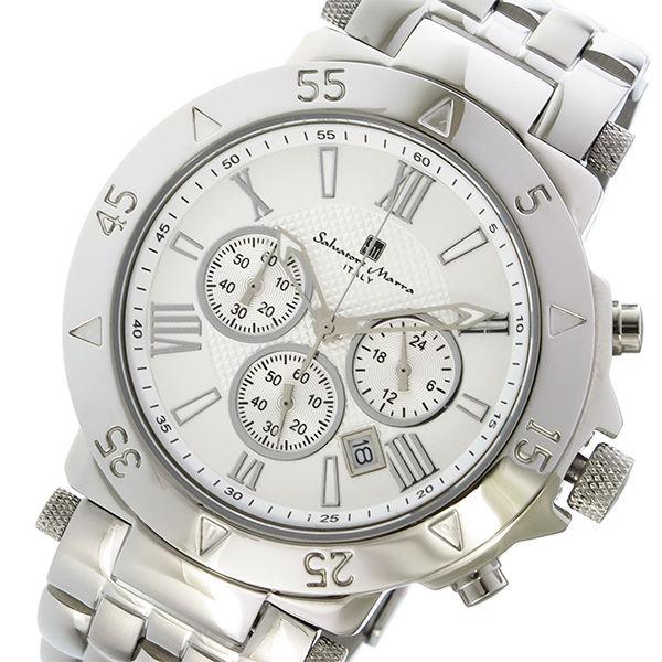 サルバトーレマーラ クロノ クオーツ メンズ 腕時計 SM7019-WH ホワイト
