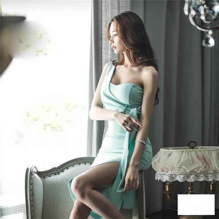 定価9980円  ls-onep17-5  ワンピース ワンピ ドレス レディース スリムワンピース 韓国ファッション 肩出し セクシー スリット 膝丈