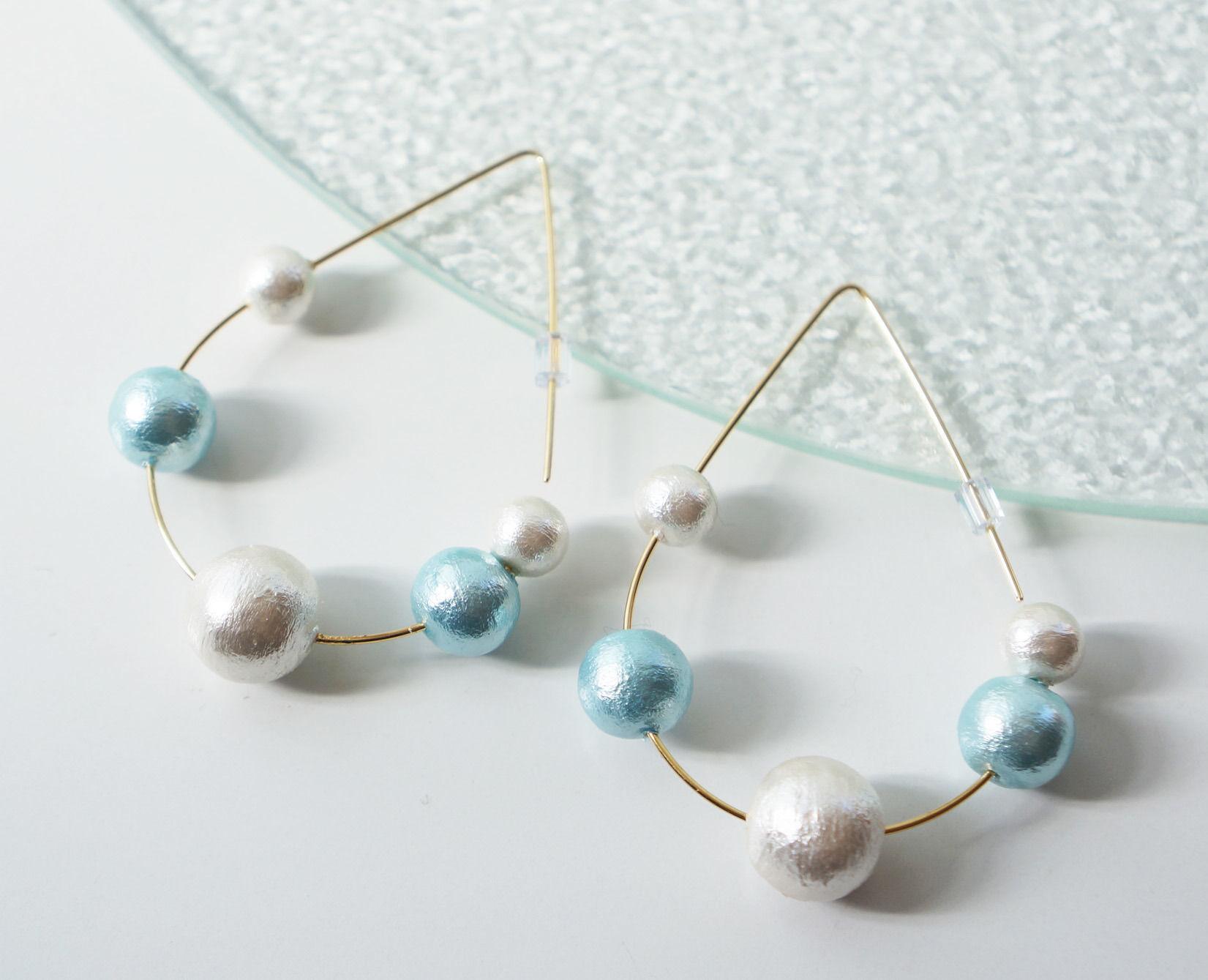 bubble pierced earrings aqua