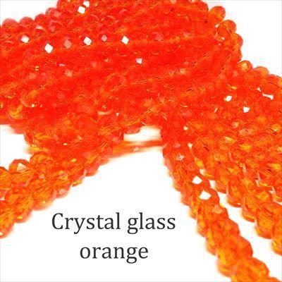 クリスタルガラス ビーズ ボタンカット オレンジ 連売り