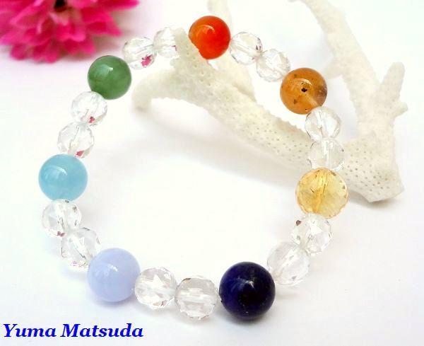 七色の虹が輝く・・・☆贅沢!ラピス・アクアマリン・ルチル・シトリン入り!~過去・現在・未来を?ぐ・・・☆~「Rainbow丸玉ブレス」