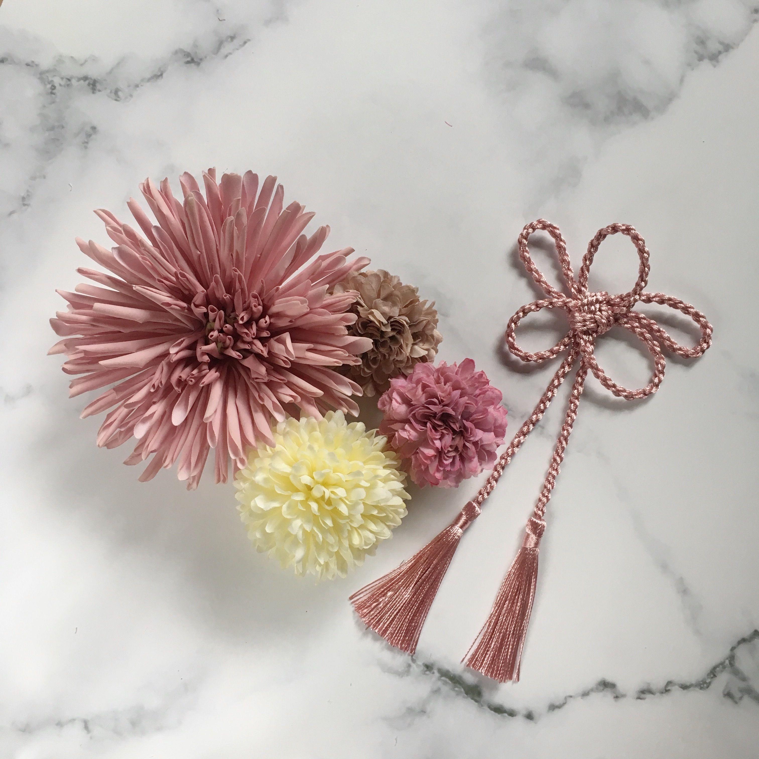 和装 髪飾り ピンク タッセル セット B