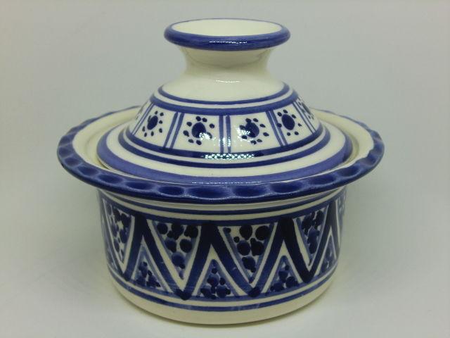うつわ・陶器・食器 蓋付ボウルSLAMA製(チュニジア食器)青