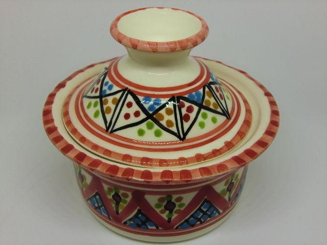 うつわ・陶器・食器 蓋付ボウルSLAMA製(チュニジア食器)赤