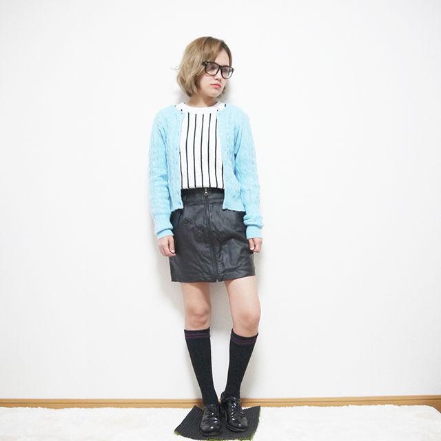 センタージップレザースカート