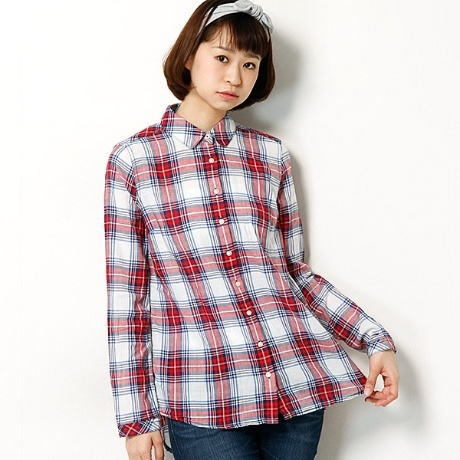 Basic check cheesecloth shirt l/s 7